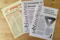 A Different Glasgow newsletter announcing GlasGay! Scotland's first gay and lesbian arts festival (1993).  And Uniquitous newletter announcing the 12th National Bisexual Conference in Edinburgh  (1994)