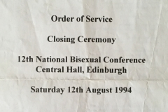 Closing ceremony of the 12th National Bisexual Conference, Edinburgh  (1994), officiated by The Sisters of Perpetual Indulgence.