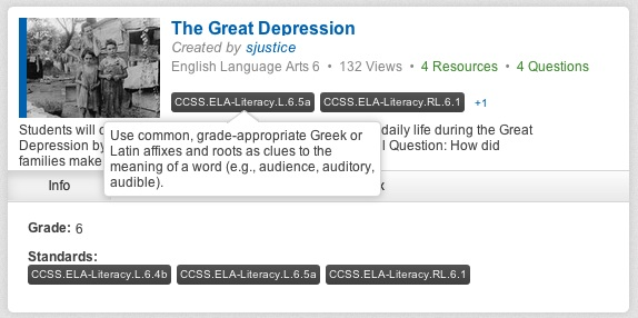 Gooru collection search showing CCSS classification