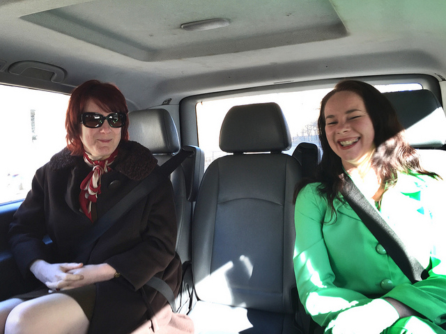 Taxi Chic OER16 Co-Chairs Melissa Highton & Lorna Campbell by Catherine Cronin, CC BY SA
