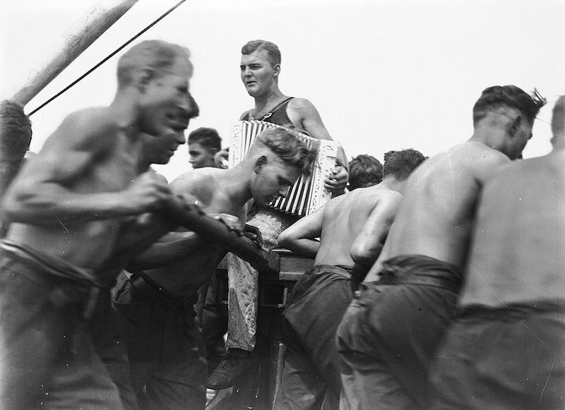 Sailors at capstan