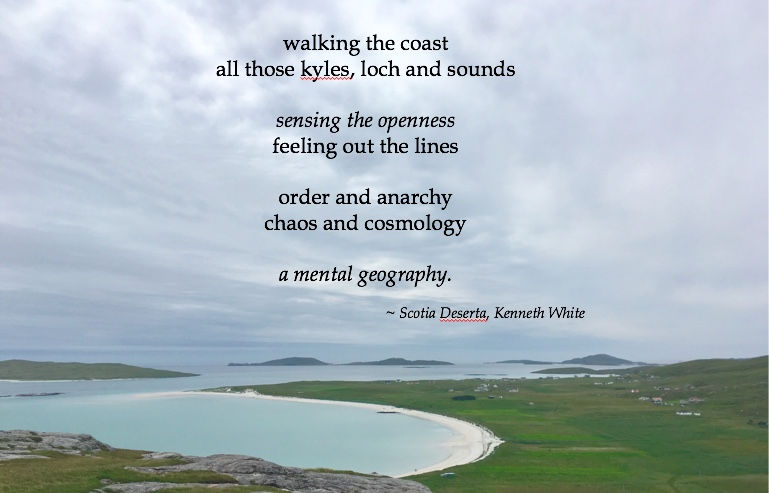 Image of the coast with the words of Scotia Deserta by Kenneth White.